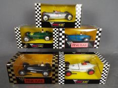 Pink-Kar - 5 x slot cars including 4 x Bugatti Type 59 models and an Auto Union Type C.