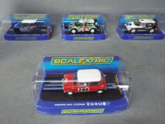 Scalextric - 4 x Mini Rally models including 63 Morris Cooper, 2012 Countryman WRC, 2013 Cooper S.