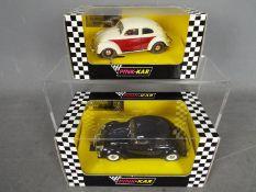 Pink-Kar - 2 x Volkswagen Beetle slot cars # CV014 1954 split window Beetle in black,