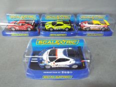 Scalextric - 4 x Ferrari F430 GT slot cars in various colours and liveries.