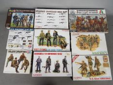 Dragon, Italeri, Revell - Nine boxed 1:35 scale plastic military model figure and accessory kits.