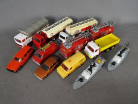 Dinky - A collection of 12 x loose vehicles including # 432 Foden Tipping Lorry,