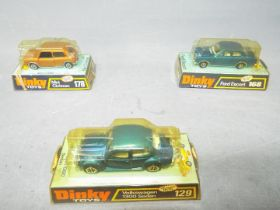Dinky - A group of 3 x vehicles, # 129 Volkswagen Beetle 1300 Sedan, # 168 Ford Escort MkI,