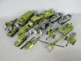 Dinky - A collection of 14 x loose Military vehicles including # 616 AEC Tank Transporter,