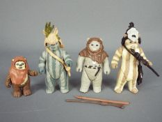 Star Wars - Four loose Ewok action figures comprising Chief Chirpa ©LFL 1983 H.