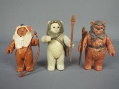 Star Wars - Three unboxed Last 17 Ewok action figures comprising Romba ©LFL 1985 with spear,