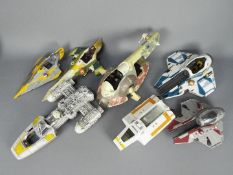 Star Wars - Hasbro - A collection of play worn vehicles for spares or restoration including Jedi