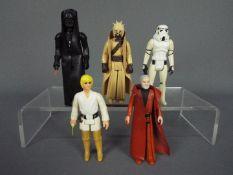 Star Wars - Five unboxed action figures comprising Luke Skywalker ©GMFGI 1977 Hong Kong,