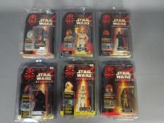 """Star Wars, Hasbro - Six carded Hasbro Star Wars Episode 1 3 3/4"""" action figures with Comm Talk Chip."""