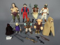 Star Wars - Nine unboxed action figures comprising Rancor Keeper ©LFL 1984 no COO, Klaatu ©LFL 83 H.