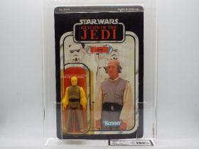 """Star Wars, Kenner - A graded Kenner 1983 Star Wars ROTJ Lobot 3 3/4""""action figure."""