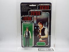 """Star Wars, Palitoy - A graded Palitoy 1983 Star Wars ROTJ Tri Logo 'Han Solo' 3 3/4""""action figure."""