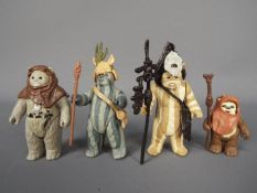 Star Wars - Four loose Ewok action figures comprising Chief Chirpa ©LFL 1983,
