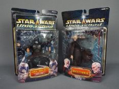 """Star Wars - Hasbro - 2 x Unleashed 8"""" sculpture figures from 2002,"""