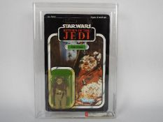 """Star Wars, Kenner - A graded Kenner 1983 Star Wars ROTJ 'Chief Chirpa' 3 3/4""""action figure."""