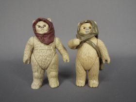 """Kenner - 2 x loose 3.75"""" Ewok figures, Lumat and Warok from the Last 17."""