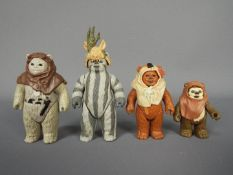 "Kenner - 4 x loose 3.75"" Ewok figures, Teebo, Chief Chirpa, Paploo, Wickett."
