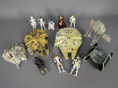 Star Wars - A collection of unboxed action figures and vehicles to include Micro Machines Action