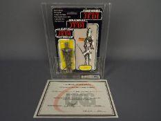 "Star Wars, Palitoy - A graded Palitoy 1983 Star Wars ROTJ Tri-Logo 'IG-88' 3 3/4"" action figure."