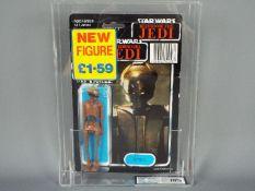 "Star Wars, Palitoy - A rare Palitoy 1985 Star Wars ROTJ Tri Logo 'EV-9D9' 3 3/4""action figure."