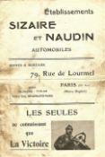 MOTORING - ORIGINAL 1907 SIZAIRE ET NAUDIN AUTOMOBILES SALES BROCHURE