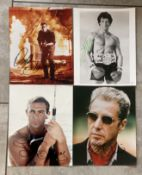 ACTORS - HAND SIGNED PHOTO'S OF SYLVESTER STALLONE, SCHWARZENEGGER, AL PACINO & SEAN CONNERY