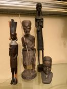 4 X EARLY-MID 20TH CENTURY AFRICAN TRIBAL ART FIGURES & BUST