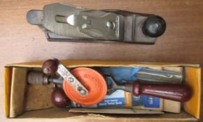 TOOLS - STANLEY VINTAGE 805 HAND DRILL & 12-204 BENCH PLANE.MADE IN ENGLAND
