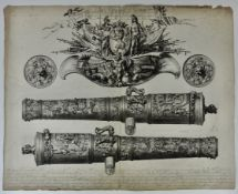 """BLOTELINGH, Abraham (1640-1690). (The """"Benningh Cannons""""). 1671 (dated in the plate). Engr"""