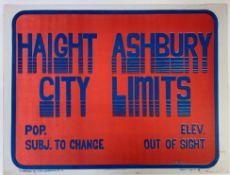 """HAIGHT ASHBURY CITY LIMITS"""". San Francisco, The Bindweed Press, (1967). Cold. silk"""