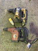 Hilti TE15 110v hammer drill together with a DeWalt 025323 hammer drill