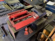 Range of miscellaneous toolboxes, spanners, jig, sockets, machine vice, etc (everything on top of