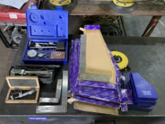 A quantity of inspection equipment incl a Draper dial test indicator and fifteen engineer's squares