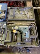 Erbauer ERA574SDS 110v drill together with a range of masonry bits and wood augers