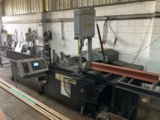 Hydmech V18APC-60 CNC automatic vertical bandsaw with Mitsubishi GOT2000 DRO, feed and delivery