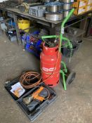 Gas bottle trolley with Ripack 2200 shrink wrap blow torch with a quantity of plastic film