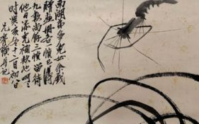 Shrimp; Chinese ink on paper scroll; Attribute to Qi Baishi; This is a painting that was dedicated