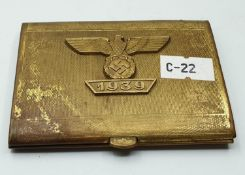 WW2 German Cigarette Case with 1939 Dated Spange Eagle.