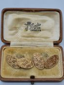 Vintage Pair of 9ct Gold Cuff Links. Having Oval Form with Scroll Work Design to Tops, Both Links