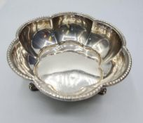 Vintage Silver Bon Bon Dish Standing on Three Legs and Having a Scalloped Floral Form, Gadroon
