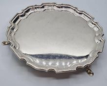 Mappin & Webb Vintage Silver Platter. Having Three Legs and a Gadroon Rim, Clear Hallmark for Mappin