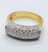 18CT YELLOW GOLD DIAMOND SET RING, WEIGHT 8.1G & 0.90CT. Size N/O