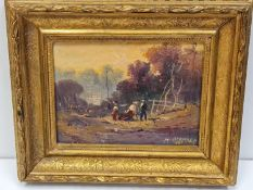 "An oil painting in ""Expressionist"" manner on wood, signed H. Bernard and dated 1905. In glided"