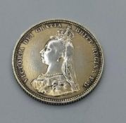 Victorian 1887 Shilling. Excellent Definition to Head and Shield Side. Milled Edge Perfect Condition