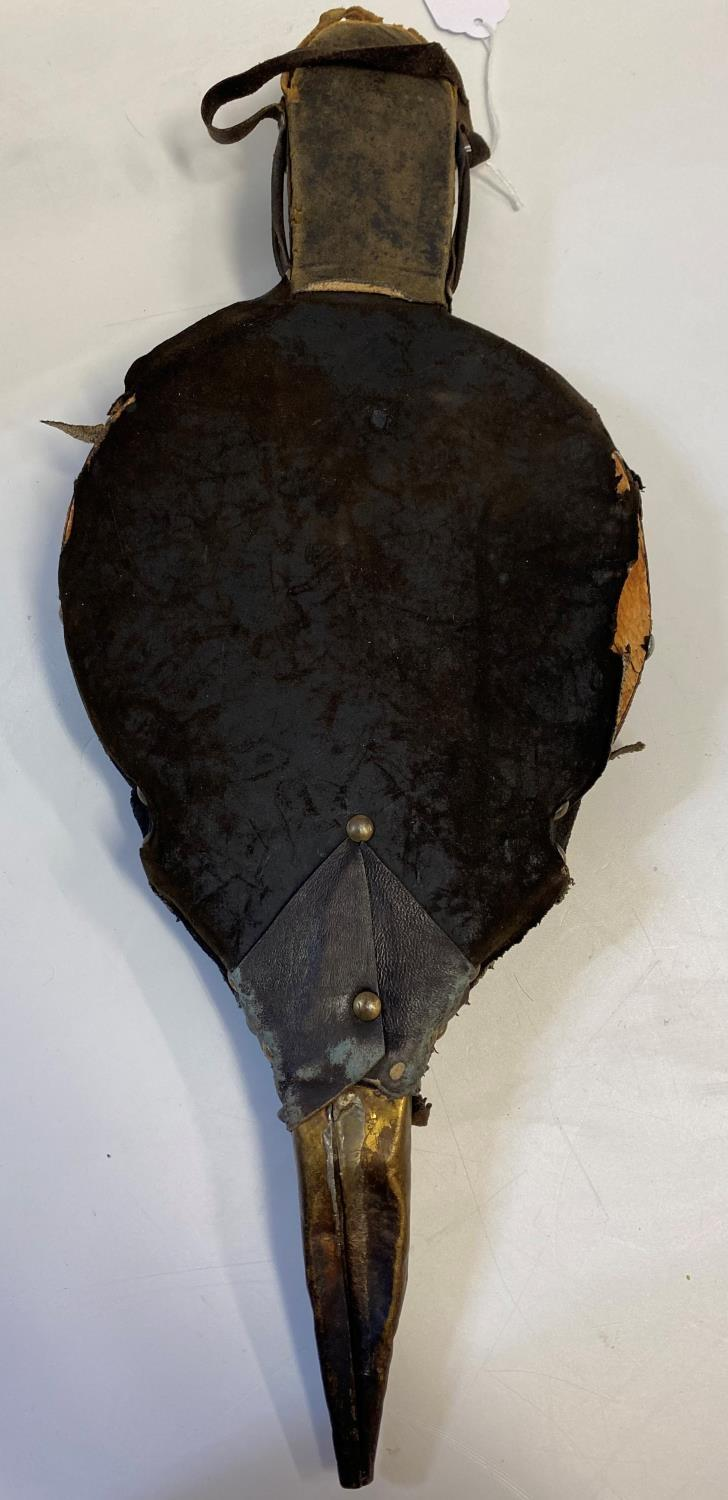 Antique Brass sided leather Bellows, 48.5cm long approx leather parts well worn, brass plaque to - Image 5 of 6