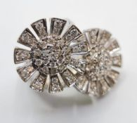 Unusual Shaped 18ct White Gold Ring Encrusted with Fine Diamonds (2ct). 19.8g, Size L