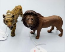 A Painted Bronze Lion & Tiger by Franz Bergmann, 4-5cm Long.