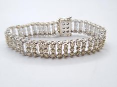 9CT W/G DIAMOND SET BRACELET 25.2G 2.10CT APPROX, 20CM