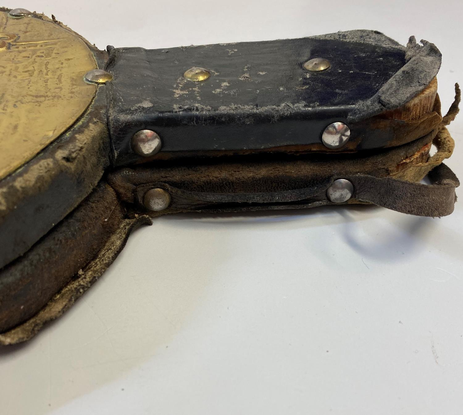 Antique Brass sided leather Bellows, 48.5cm long approx leather parts well worn, brass plaque to - Image 4 of 6