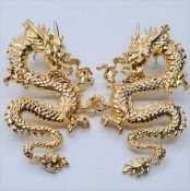 A large pair of Chinese Imperial Dragon earrings. Silver (stamped 925) and 18ct gold filled.